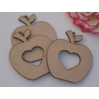 Hanging Apple shapes cut out heart  MDF Perfect for Teachers