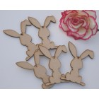 Easter Bunny Shapes with hanging hole Height 10cm MDF Pack 10