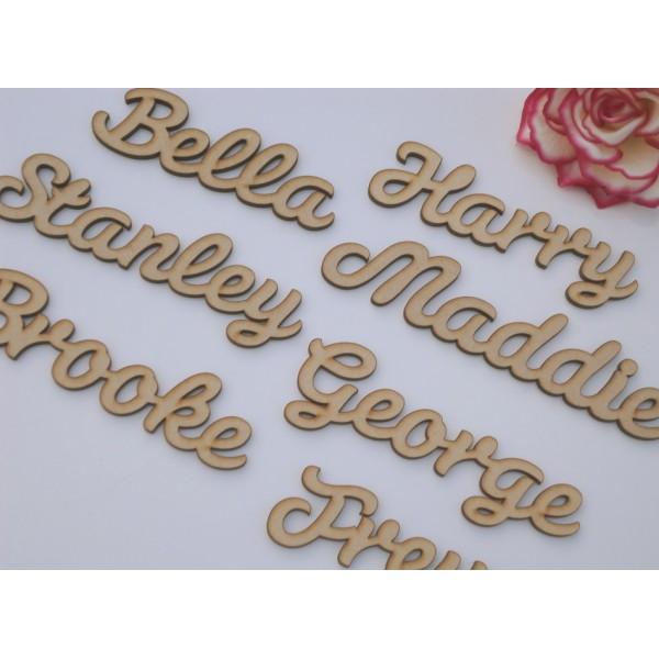 Personalised Mdf Wooden Words Names In Cursive Font Per Letter Laser Cut