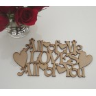All of me loves all of you.. Valentines Day hanging MDF Laser sign /plaque