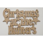 Christmas at the... Stars Add surname Christmas hanging sign (with holes)