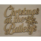 Christmas at the... MP Add surname Christmas hanging sign (with holes)