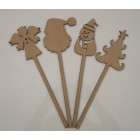 Christmas Wands Pk 4 Angel, Snowman, Tree & Santa Head MDF Laser cut