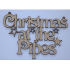 Christmas at the... Vict Add surname Christmas hanging sign (with holes)